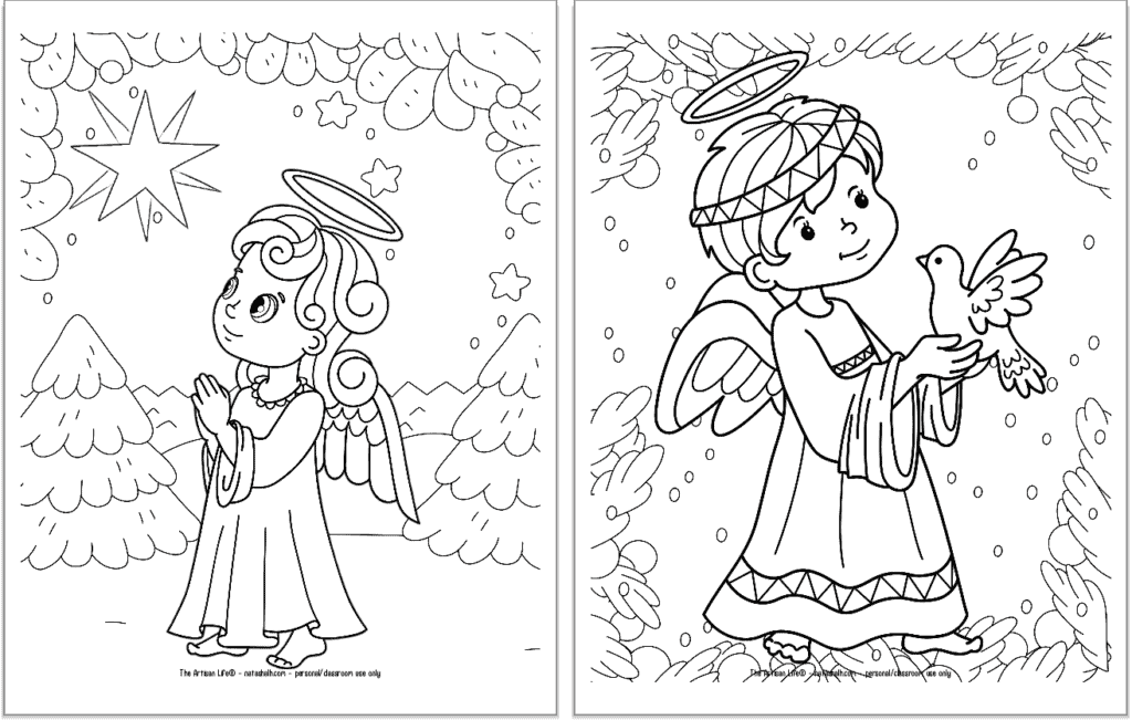 A preview of two printable Christmas angel coloring pages for kids. The angel on the left is praying and looking up at a star. The angel on the right is holding a dove.