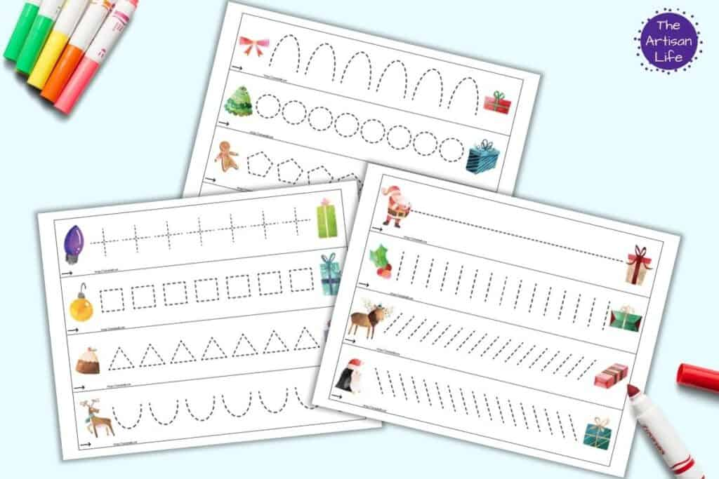 A preview of three printable pages of prewriting practice cards. Each page has four cards to cut apart. Each card has letter formation shapes with one type of shape per card. On the left of each card is a Christmas clipart image. On the right is a Christmas present.