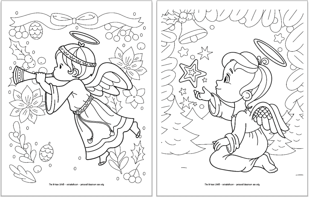 A preview of two printable Christmas angel coloring pages for kids. The angel on the left is flying and blowing a trumpet. The angel on the right is kneeling and looking at a star.