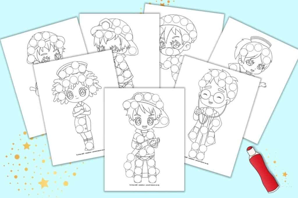 A preview of seven printable first responder dot marker coloring pages. Each page has a cartoon illustrated first responder with blank circles to color in with a dauber marker. Pages include firefighters, doctors, and nurses.