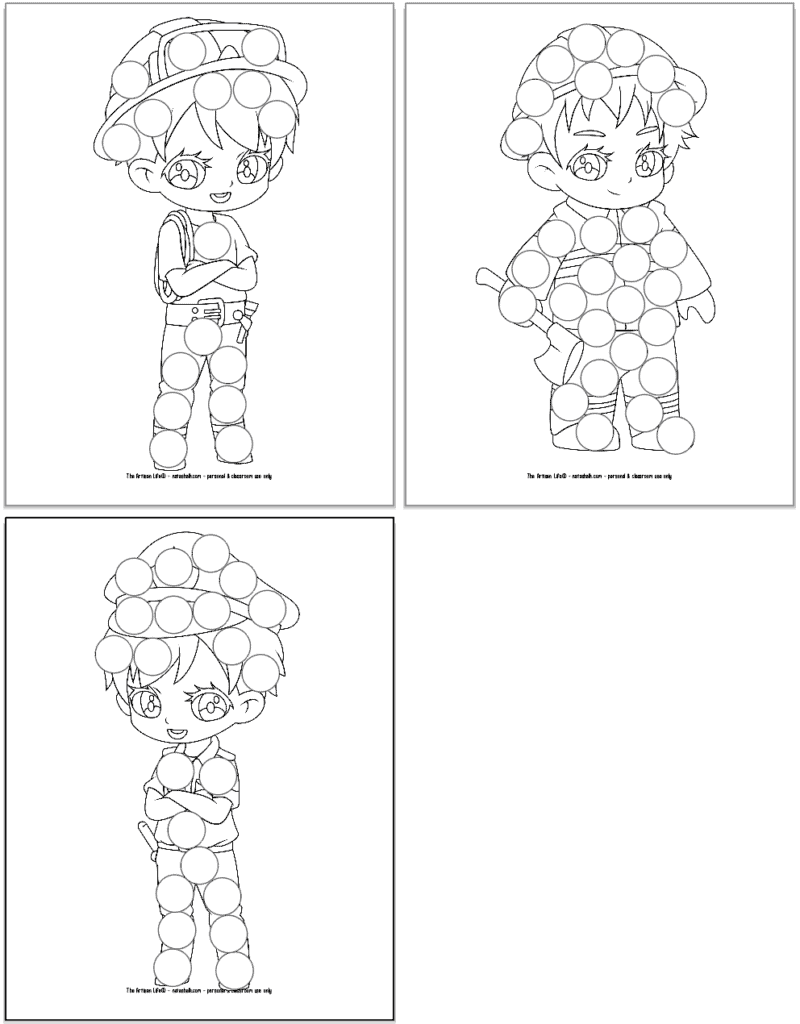 A preview of three printable first responder dot marker coloring pages. Each page has a large first responder with circles to color in with dauber markers. Images include: two firefighters and a police officer.