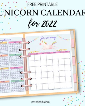 A mockup preview of a 2022 calendar printable with unicorns in a six ring planner. A 2022 year at a glance page is on the left, a January 2022 calendar is on the right.