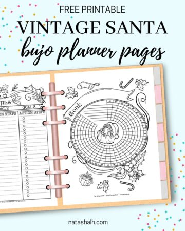 """A digital mockup of a Santa themed habit tracker and goals planner in a six ring planner. The text overlay """"free printable vintage Santa bujo planner pages"""" is above the image."""