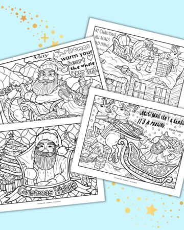 A preview of four free printable Santa coloring pages for adults. Each page has a Christmas quotation and vintage, woodcut-style Santa illustrations