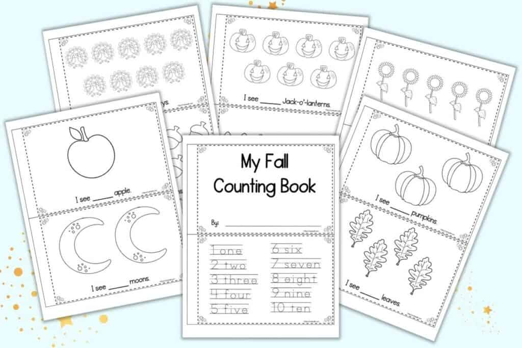 """A preview of six sheets of printable fall counting book. Each sheet has two pages to cut apart and assemble into an emergent reader for pre-k and kindergarten. One page has a cover and numbers 1-10 to trace. The remaining sheets have black and white clipart with a simple sentence """"I see..."""" to fill in the number of items shown."""