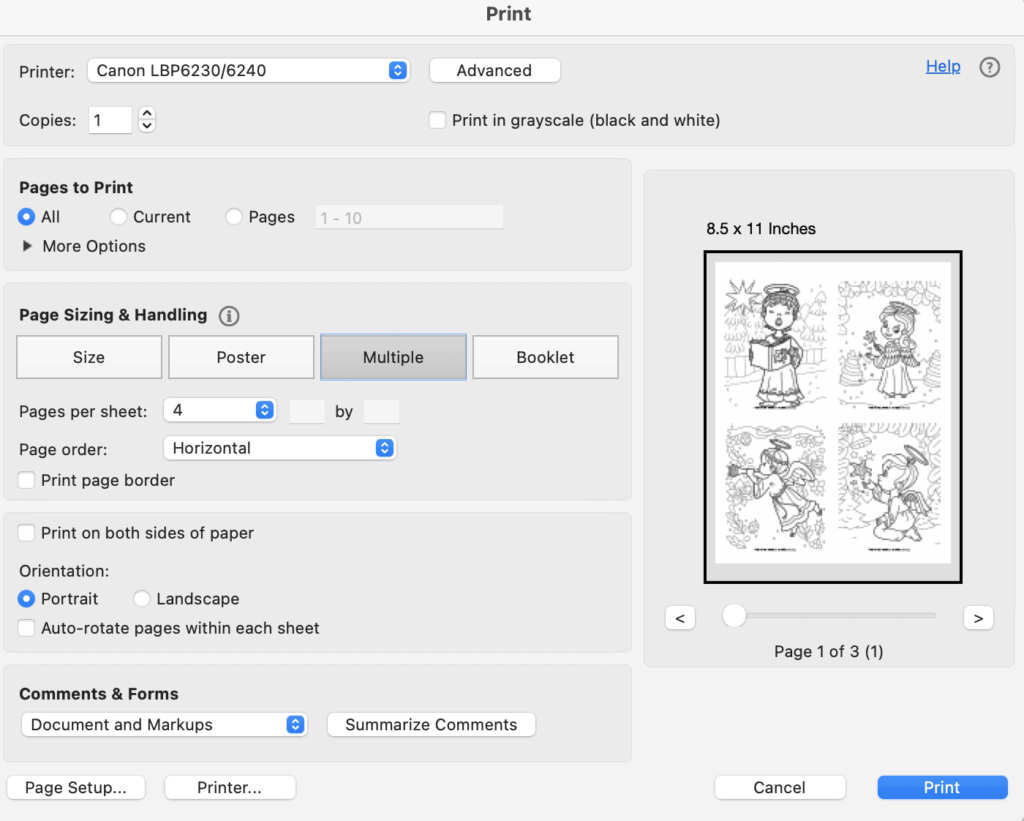 A screenshot of a print preview box showing printing 4 to a page in Acrobat Reader